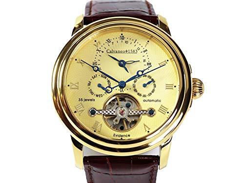Calvaneo 21–Wristwatch men's, Leather Strap Black