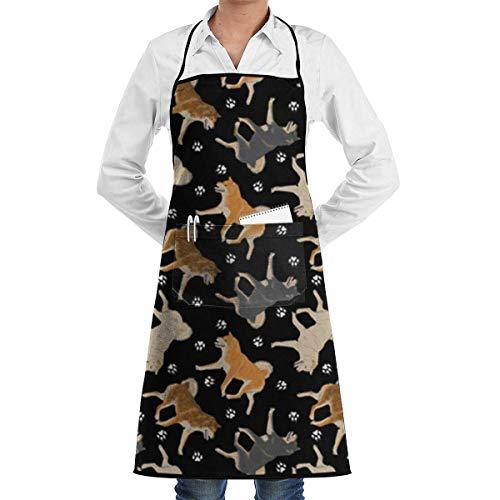 VAICR Kochschürze Küchenschürze,Apron Bib Shiba Inu Fabric in Black Chef Apron with Bib Apron Kitchen Apron Adjustable Extra Long Ties for Women&Men BBQ Baking and Cooking-Black,Easy to Clean