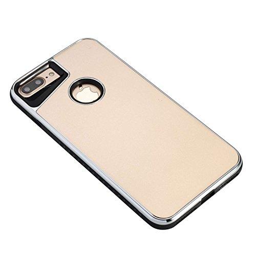 """iPhone 7 Hülle, iPhone 7 Schutzhülle Leder Hülle,Alfort 2 in 1 Überzug Scheuern hülle Fashion Design Premium PC + TPU Hohe Qualität Tasche Case Cover für Apple iPhone 7 4.7"""" Smartphone ( Silber ) Golden"""
