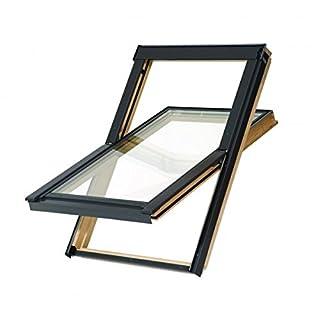 Balio Dachfenster Holz incl. Universal - Eindeckrahmen Größe: 55x72 Altaterra wie Velux und Rooflite