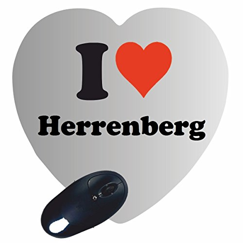 """Herz Mauspad \""""I Love Herrenberg\"""" in Weiss, eine tolle Geschenkidee die von Herzen kommt  Rutschfestes Mousepad   Geschenktipp: Weihnachten Jahrestag Geburtstag Lieblingsmensch"""