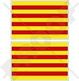 """Cataluña Bandera de Cataluña España Español 3""""(75mm) vinilo Parachoques Pegatinas, calcomanías x2"""