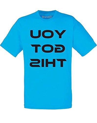 Brand88 - You Got This, Mann Gedruckt T-Shirt Azurblau/Schwarz