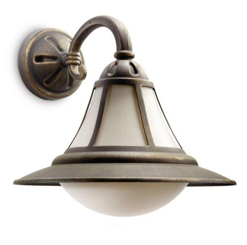 Philips myGarden Wandaussenleuchte Provence, 23W energiesparend, schwarz/gold patiniert, 152114216 - Provence 4 Licht