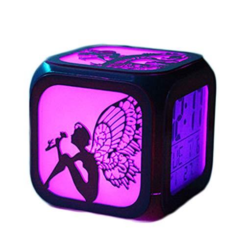ZhangXF Kleine Fee Kreative 3D Stereo Kleine Wecker Led Nachtlicht Elektronische Uhr Nachttischuhr Schlafzimmer Geburtstagsgeschenk,A:Batteryboxversion (Stereo Uhr)