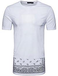 Bluestercool Hommes T-Shirt Casual Hip hop Imprimé Manches Courtes Hauts