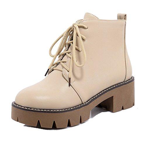 AgeeMi Shoes Femme Lacet à Talon Bas Fermeture D'Orteil PU Cuir Haut Bas Bottes