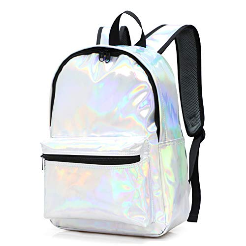 Mädchen Holographische Rucksack Bling Glitter PU Leder Laser Schultertasche Schule Casual Daypacks,1 -
