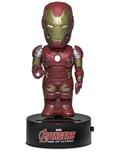 Neca NECA61490 - Marvel Avengers Age of Ultron - Iron Man Solar Powered Body Knocker Bobble Head Wackelkopf 15 cm