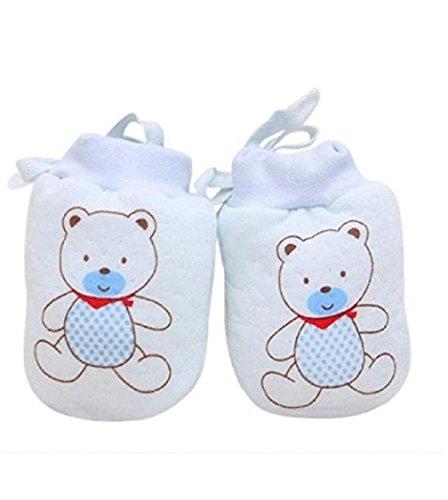 Baby-Handschuhe Auxma Baby-Kind-Jungen-Mädchen-nette Karikatur Anti Scratch Fäustlinge weiche Handschuhe Seil (Blau)