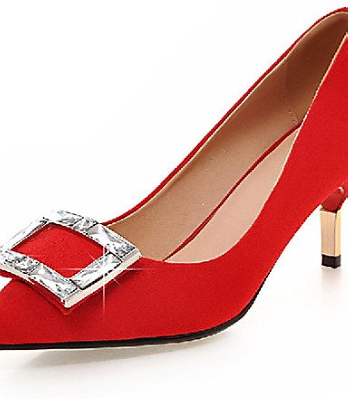 ZQ Zapatos de mujer-Tac¨®n Stiletto-Tacones-Tacones-Exterior / Oficina y Trabajo / Casual-Sint¨¦tico-Negro / Rojo...