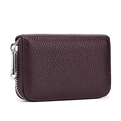 Womens Credit Card Holder Small RFID Blocking Ladies Wallet with Stainless Steel Zipper Excellent Genuine Leather Accordion Wallets Case for Women ID Compact Slim Blocked Zip Accordian Cards Coffee - Wallet Slim-credit Card Womens