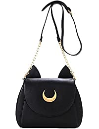 XLKJ Bolsos de Hombro Mujer Pequeño, Bolso de Sailor Moon con Orejas de Gato, Negro