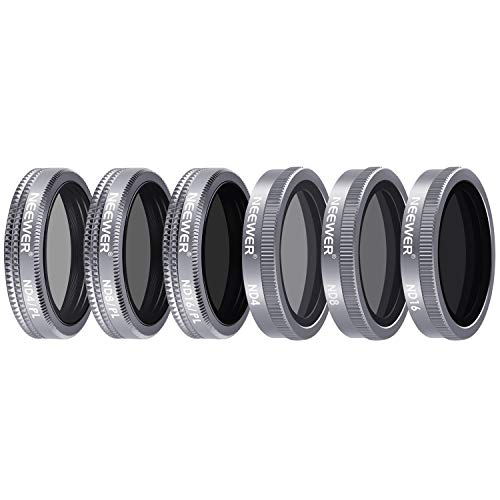 Neewer 6 Stück Objektiv Filter Set für DJI Mavic 2 Zoom, enthält Mehrfach beschichtete ND4 ND8 ND16 ND4/PL ND8/PL ND16/PL Filter mit Tragetasche für Fotografie im Freien (grau)