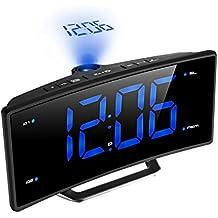 TOPELEK Radio Despertador Digital, Radio Reloj Despertador con Proyector, Alarma de Proyección de FM, Alarmas Dobles, Función Snooze, Pantalla LED de 2 pulgadas, Atenuador, Temporizador de Apagado