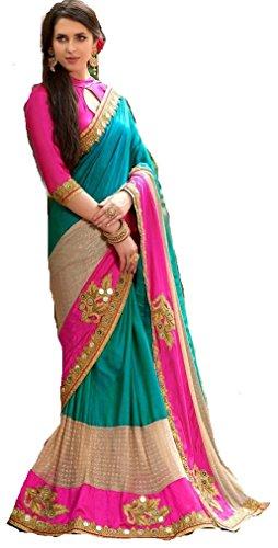 Sunshine Fashion Rama Color Half/Half (Paper Silk-Fancy Lycra-Benglori Silk), Fabric Fancy Thread...