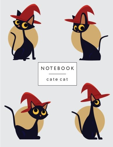 Notebook cate cat: Black cats on grey cover and Lined pages, Extra large (8.5 x 11) inches, 110 pages, White paper (Black cats on grey  notebook)