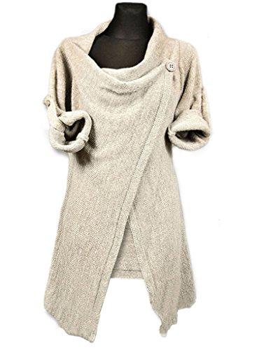 Minetom Donna Primavera Autunno Cardigan Casuale Sciolto Maglione A Maglia Cappotto Orlo Irregolare Cime Beige