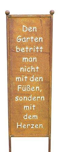 Bluemelhuber Schild/Spruchtafel Gartenschild Edelrost Rost zum Einstecken 115cm