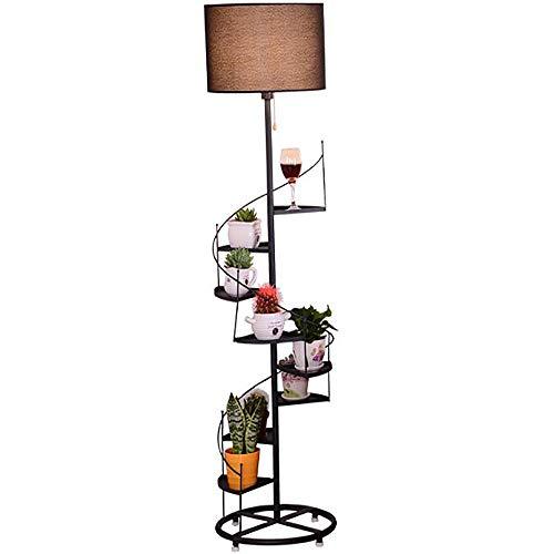 C&NN Moderne Kombination aus Drehregal und LED-Stehlampe - Stehleuchte für Wohn- und Schlafzimmer - Asiatischer Holzrahmen mit offenen Verkaufsregalen. -