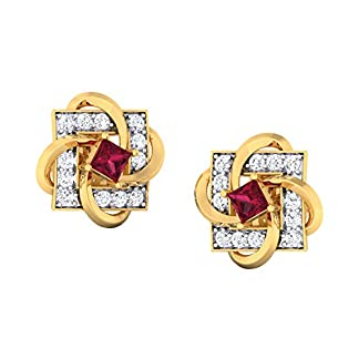 JewelTale 18KT Yellow Gold, Diamond and Ruby Stud Earrings for Women