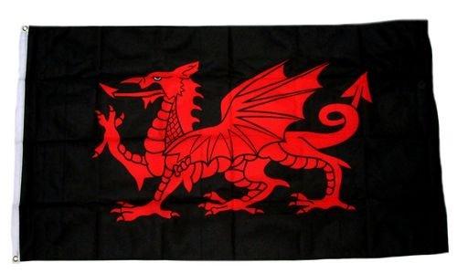Flagge / Fahne Wales Drache schwarz 90 x 150 cm
