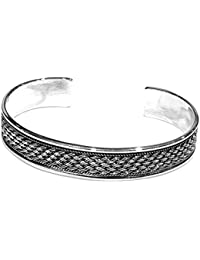 TreasureBay Sterling Silver Bangle Bracelet Made from Solid 925 Sterling Silver Elephant Design adjustable size Unisex Bangle