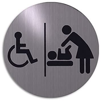 Xaptovi Round Door Sign Disabled Toilet And Baby Changing Room Pictogram Accessible WC Babyroom