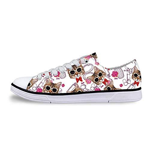 Fashion Canvas Shoes Lace Up Trainers Women Cat Print Sneaker Comfy Walking Pump White CC1162AP UK 7
