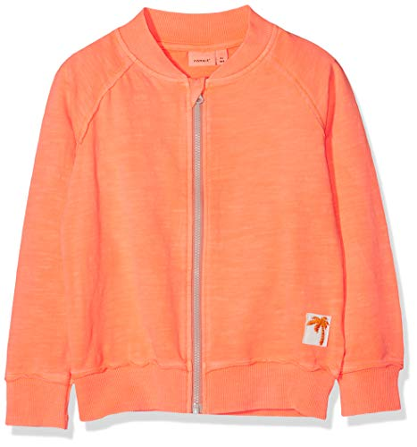 NAME IT Baby - Mädchen Sweatjacke NMMDESTON SWE Card UNB (Shocking Orange), 92