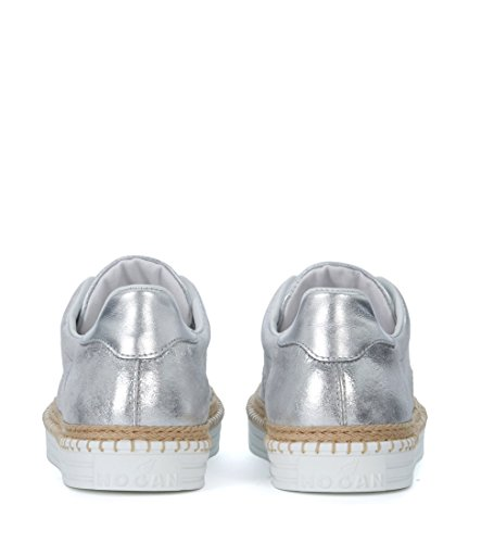 Hogan Sneaker R260 in Pelle Metallizzata Argento Grigio
