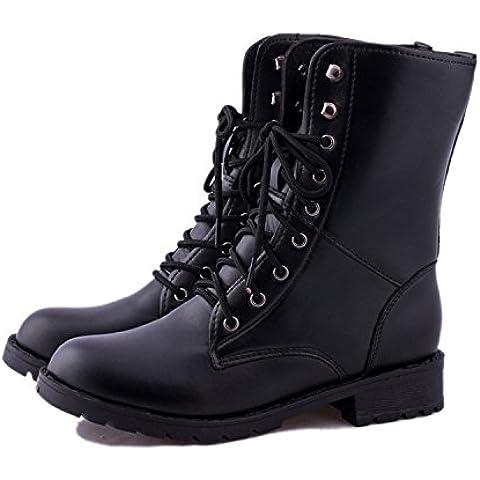 SHIXR Damas invierno botas tama?o ¨¢spero Martin redondo cabeza con botas casual correas , black , 36
