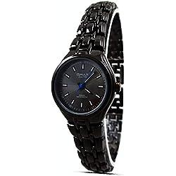 Branded Fashion Women Lady Wrist Watch Black Strap Analogue Dial Quartz