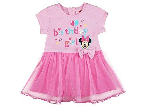Mädchen Geburtstags-Kleid in GRÖSSE 80, 86, 92, 98, 104, 110, 116, 122, 128 mit TÜLL-Rock, Disney Minnie Mouse, KURZ-ARM, ideal für die Birthday-Party, Freizeit, Fest oder Sommer Farbe Rosa, Größe 1