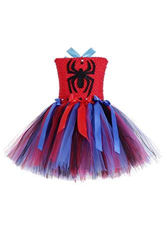 RedJade Kinder Mädchen Superheldin Kleid Cosplay Kostüm Party Supermädchen Supergirl Spider-Man Tutu Ankleiden