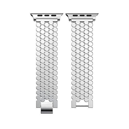Kanlin 1986 nuovo banda di orologio in acciaio inossidabile cinghia di ricambio per apple watch series 3 38mm (argento)