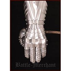 Battle Merchant Larp - Guanteletes medievales lisos, remachados y cosidos