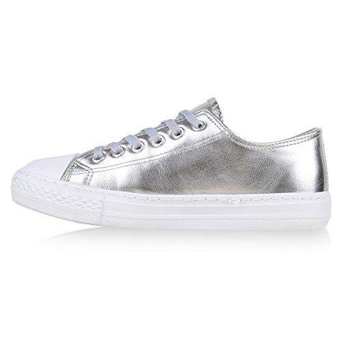 Damen Sneakers Mehrfarbig | Metallic Turnschuhe | Sneaker Low | Freizeit Flats Glitzer Silber Metallic