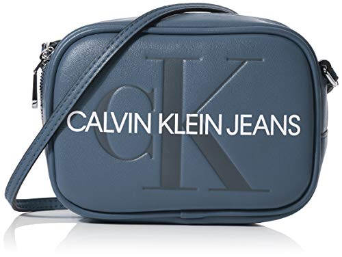 Calvin Klein Damen Sculpted Monogram Camera Bag Laptop Tasche, Blau (Washed Blue), 8x12x17 cm