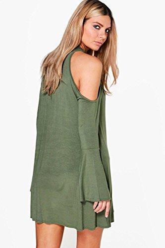 ... Khaki Damen Maisie Ausgestelltes Kleid Mit Ausgeschnittenen Schultern  Und Kropfband Khaki