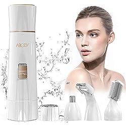 Depiladora Mujer Facial, Abody 4 en 1 Afeitadora Mujer Eléctrica con Tecnología Wet & Dry y USB Cargador Para Cara, Cejas, Piernas, Nariz, Bikini