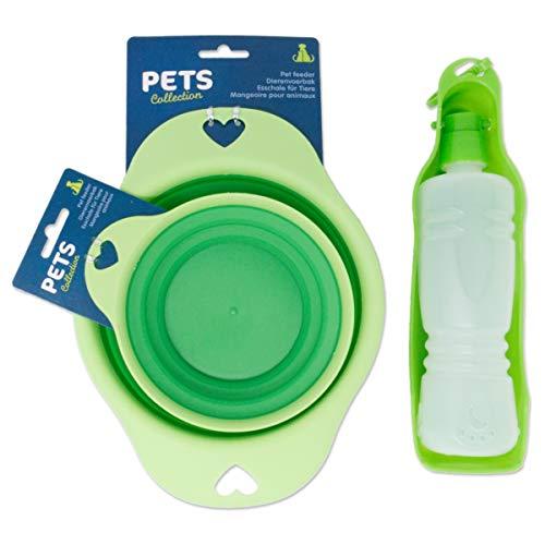 AMBLYO 3tlg Set Hundenapf und Trinkflasche für unterwegs, Faltbare Reise Futternäpfe und Tränke für Hunde Farbe grün