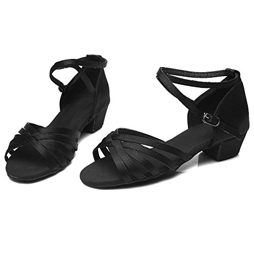 HROYL Donna I-202 Raso Scarpe da Ballo Latino/ChaCha/Samba Leather da Sala Nero
