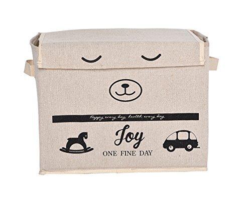 GreenForest Giocattoli casalinghi essenziale scatola con coperchio scatola naturale lavanderia sacchetto tessuto bin bambini giocattolo (Bambini Bin Organizer)