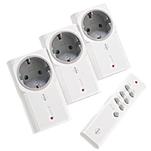 Intertechno Smart Home Funk-Zwischenstecker 3-fach Set IT-1500 mit Fernbedienung kompatibel mit allen lehrenden Sendern