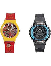 Fantasy World Yellow Watch And Sport Watch Combo For Boys And Girls - B0789M8Q34