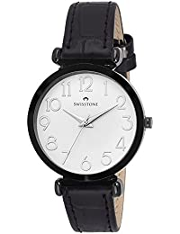 Swisstone CK301-WHT-BLK White Dial Black Leather Strap Wrist Watch For Women/Girls