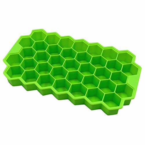 Eiswürfelform,Silikon Eiswuerfel Form Eiswuerfelbehaelter Eiswürfelbereiter Ice Tray Ice Cube mit Deckel Ice Tray Ice Cube 37 Fach, (Grün) ()