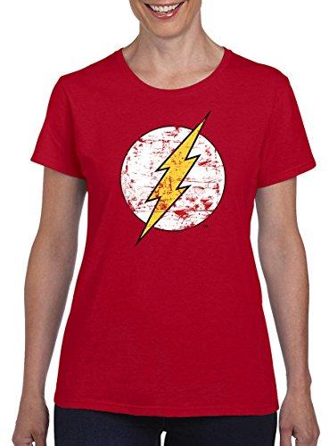TSP The Flash Logo Damen T-Shirt XL Rot (Black Lantern Flash Kostüm)
