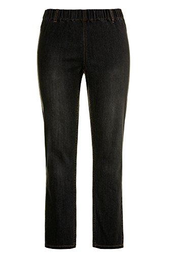 Ulla Popken Damen große Größen bis 60 | Jeggings, Hose | Jeans-Leggings mit Gesäßtaschen | Slim Fit, Skinny | Rundum-Gummibund, Stretchkomfort | black 24 698055 11-24
